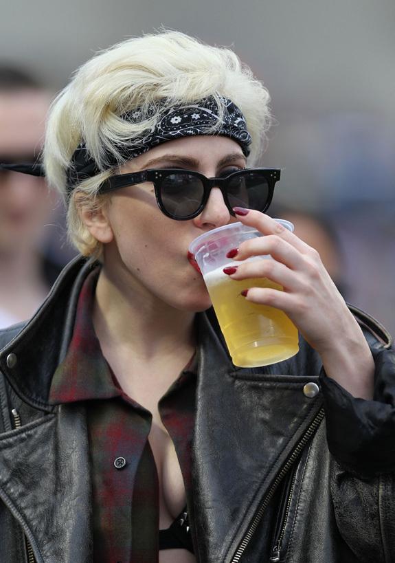 lady gaga drinking a beer
