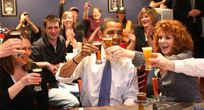 obama drinking beer