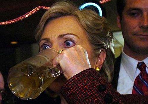 hillary clinton drinking beer